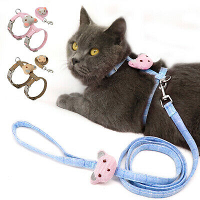 Cat Leash and Harness Small Nylon Strap Harness Escape Proof Cat Walking Jacket