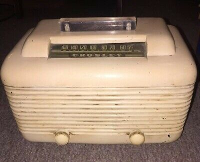 Antique Vintage Crosley  Bakelite Tube Radio ~ Lucite Handle