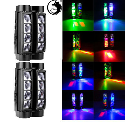 2PCS Spider Beam Moving Head Stage Lighting 80W RGBW LED DMX Disco Party Light