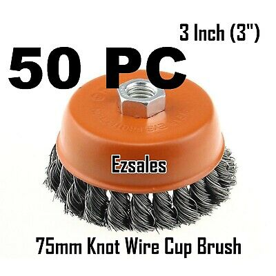 "50 Twist Knot Wire Cup Brush 3"" (75mm) for 4-1/2"" (115mm) Angle Grinder"