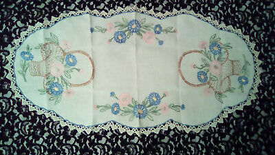 Antique french linen Louis XVI style center piece hand embroidery & lace