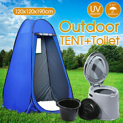 Outdoor Portable 6L Camping Potty Toilet + Shower Tent Privacy Change Room
