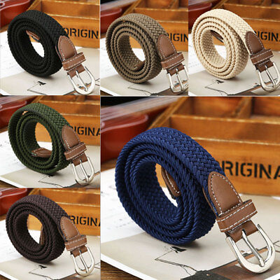 USA Men Leather Braided Elastic Stretch Cross Buckle Casual Golf Belt Waistband