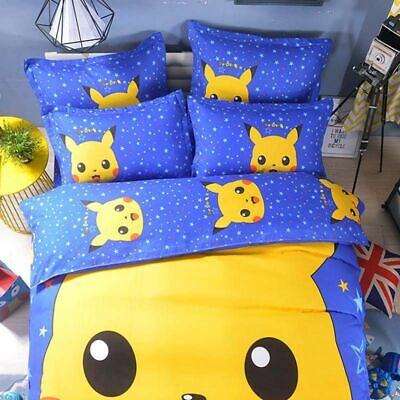 Fashion Catch Single Double King Duvet Cover Pikachu Bedding Sheet Pillow Case