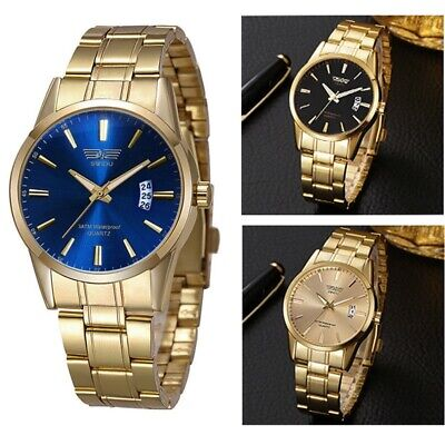 UK Mens Luxury Stainless Steel Band Casual Analog Quartz Gold Wrist Watches Gift
