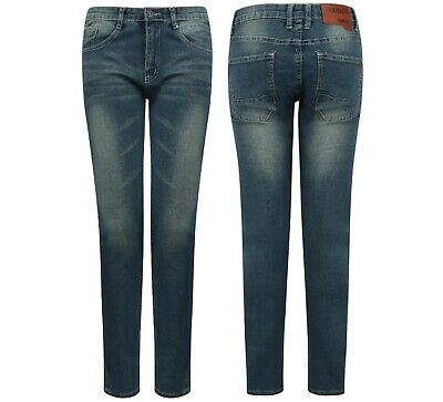 Mens Boys Skinny Jeans Stretch Denim Waist New Blue Comfort Fashion Slim Size