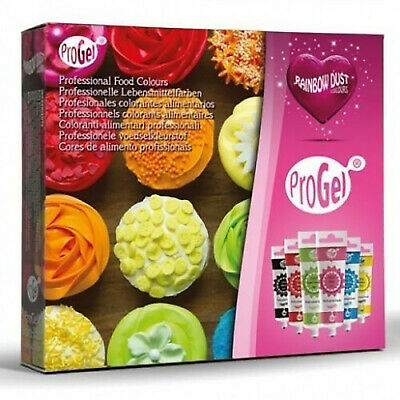 Progel Food Colouring Multipack - 6 Colours Rainbow Dust Concentrated Colour Gel
