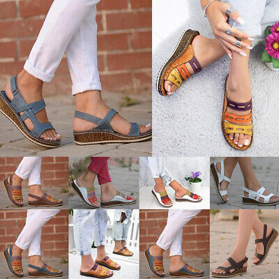Women Casual Slip On Ankle Strap Wedge Peep Toe Sandals Flat Slippers Shoe Size