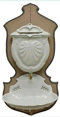 19Th C. Antique French Cast Iron Shell Lavabo Fountain On Wall Hanging Wood Base