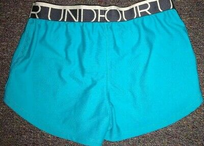 Girls Under Armour Solid Blue Loose Fit Athletic Shorts Size YLG