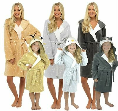 Mother & Daughter Sister Family Matching Novelty Fleece Bath Robe Dressing Gown