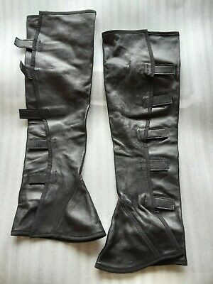 Vintage Black Faux Leather Gaiters Spats Boot Covers Steampunk