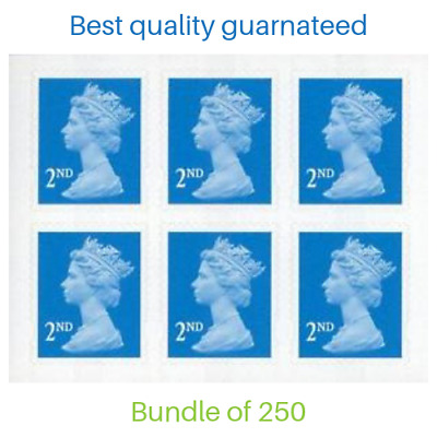 250 X 2ND Class Royal Mail FV £145.00 Unfranked Stamps No Gum Off Paper postage