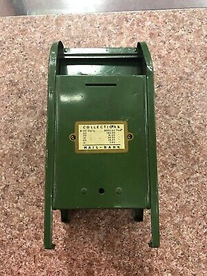 """Vintage Antique Green Metal Mailbox Mail Bank 9"""" tall 1.2 lbs. Old Toy"""