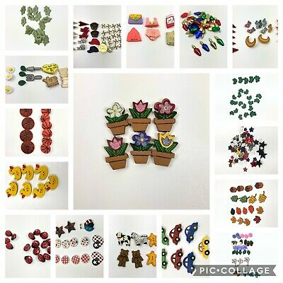 Mixed Lot Novelty Sewing Buttons Decorations Kids Crafts Sports Flowers Holiday