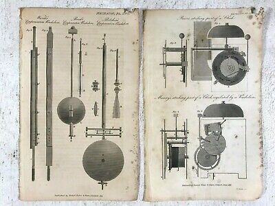 2 Antique Technical Drawings of Clock Mechanisms Time Pendulums