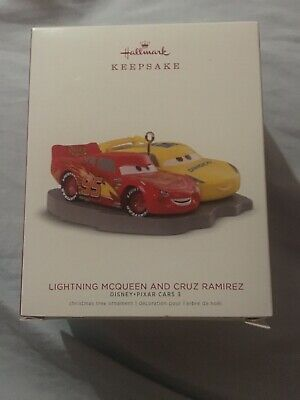 Hallmark 2018 Disney Pixar Lightning McQueen and Cruz Ramirez 3 Ornament New