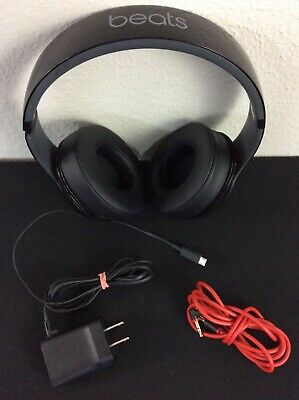 Beats by Dr. Dre Studio Headphones Black & Red B0500 w OEM Beats Audio Cable