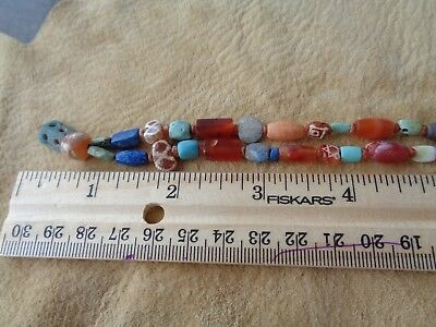 Ancient Bead Necklace Beads From Turkey 2000BC Etched Carnelian Agate Turquoise