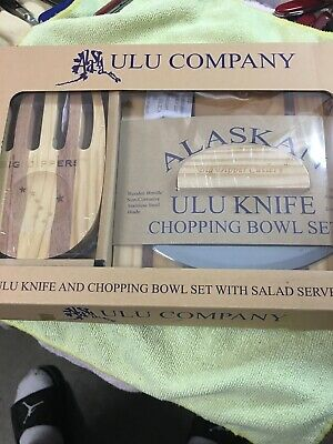 Lot of 2 Ulu COMPANY Alaskan Knife Chopping Bowl Salad Server Set Wood Kitchen