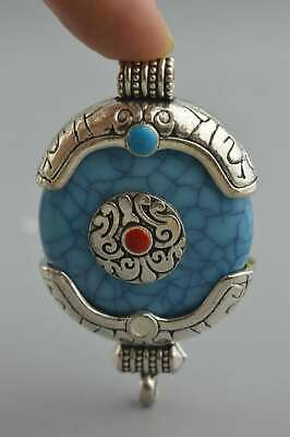 China Ancient Collectable old Miao Silver Carve Totem Inlay Agate Tibet pendant