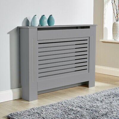 Medium Grey Radiator Cover Wooden MDF Wall Cabinet Shelf Slatted Grill York