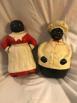 Antique Cast Iron Black Americana Jolly Chef And Aunt Jemima Mammy Coin Bank Set