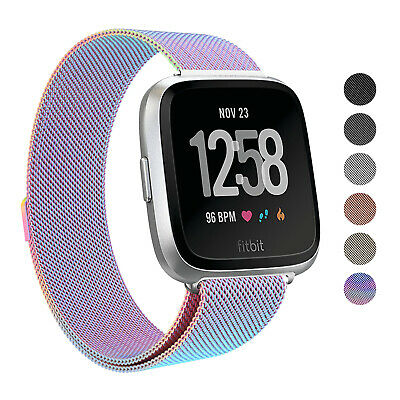 For Fitbit Versa Stainless Steel Metal Loop Milanese Watch Band Magnetic Strap