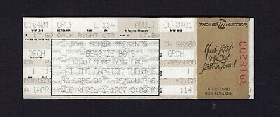 Original 1987 Beastie Boys unused concert ticket Capitol Passaic License To Ill