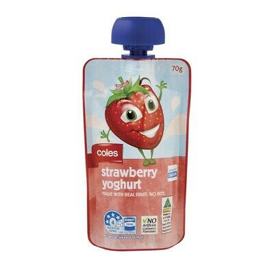 NEW Coles Calcium Source Healthy Real Fruit Strawberry Yoghurt Drink Pouch 70g