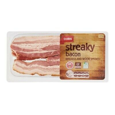 Coles Rindless And Wood Smoked Streaky Bacon 200g