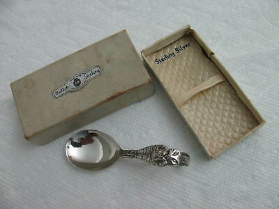 ANTIQUE Sterling Silver Baby Spoon BUNNY # 6662