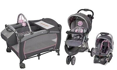 Baby Trend Stroller Travel System with Car Seat Infant Toddler Playard Set Girls