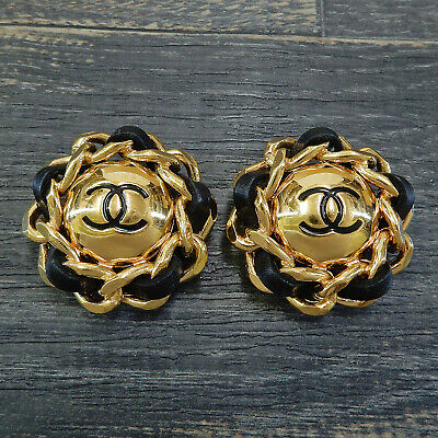CHANEL Gold Plated Black Leather CC Logos Vintage Round Earrings #4979a Rise-on