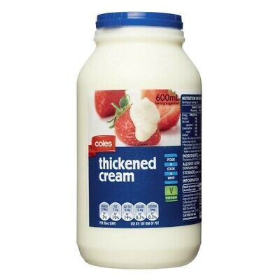 NEW Coles Vegetarian Pasteurised Whip Cook Pour Thickened Cream Bottle 600mL