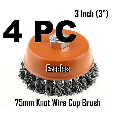 "4 PC 3"" x 5/8"" 11 NC FINE Knot Wire Cup Brush Twist 4-1/2 Angle Grinders Wheel"