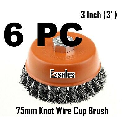 "6 PC Twist Knot Wire Cup Brush 3"" (75mm) for 4-1/2"" (115mm) Angle Grinder"