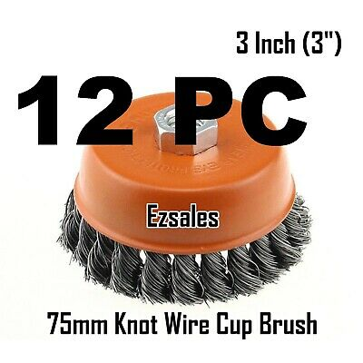 """12 PC 3"""" x 5/8"""" 11 NC FINE Knot Wire Cup Brush Twist 4-1/2 Angle Grinders Wheel"""