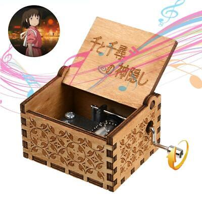 Wooden Music Box Spirited Away Always with me Engraved Kids Craft Toys Gift US