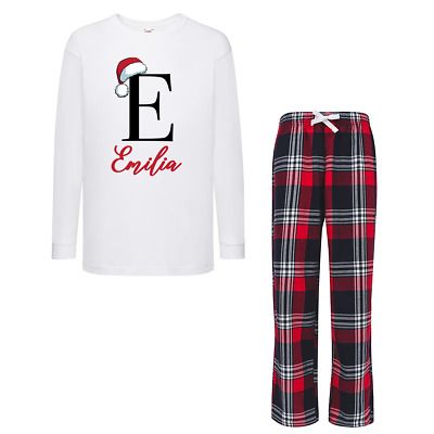 Personalised Initial and Name Christmas Red Checked Pyjamas Boys Girls Baby