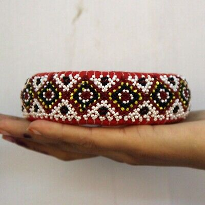 Pot Ring Cloth Hand Beads Made Indian Tribal Woman Head Pot Vintage Ring - 11380