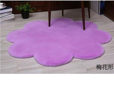 Natural Faux Rabbit Fur Rug Fluffy Soft Wool Shaggy Rugs Carpet Plum blossom