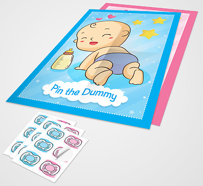 Baby Shower Game PIN THE DUMMY ON THE BABY - upto 70 players, boy/girl A2 size