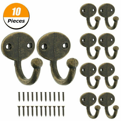 New 10 Rustic Coat Hooks Cast Iron Long Hook Wall Hat School Towel Hook US