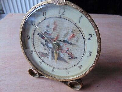 Vintage Metal Wind Up Mechanical Clock Chinese Oriental Scene Made In Scotland