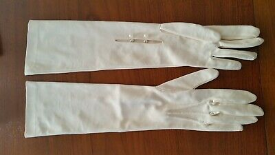 Vintage long cream gloves made in West Germany sz 6 nylon excellent condition