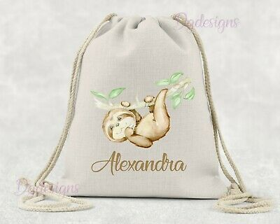 Personalised Bag*PE*Gym*Dance*baby nappy*gift drawstring bag*watercolour Sloth