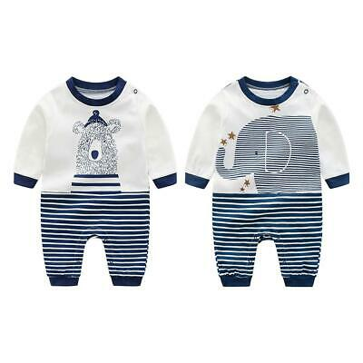 Cute Animal Autumn Long Sleeve Baby Rompers Girl Boys Stripe Loose Jumpsuit #gib