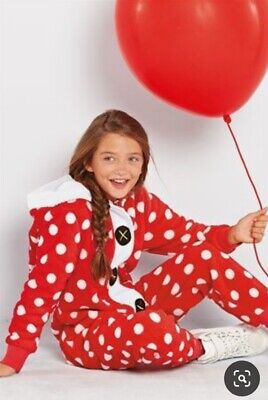 NEXT Girls Red Spot Father Christmas Fleece All In One. Loungewear. Age 11