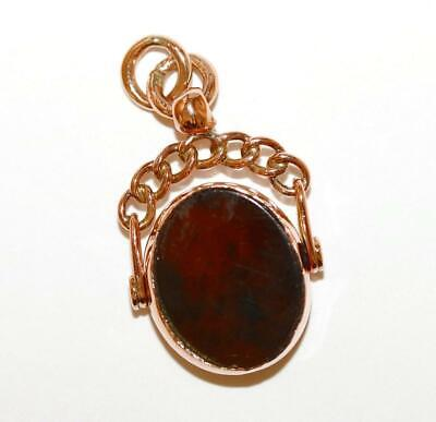 Antique Victorian 9k Rose Gold Agate Spinner Fob Charm Pendant Sign D&C Chester